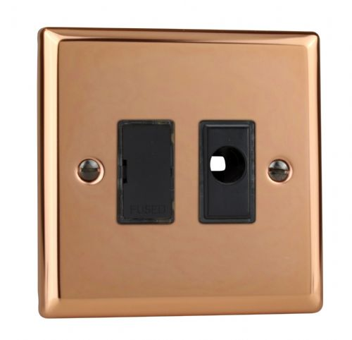 Varilight XY6UFOB.CU Urban Polished Copper 1 Gang 13A Unswitched Fused Spur + Flex Outlet